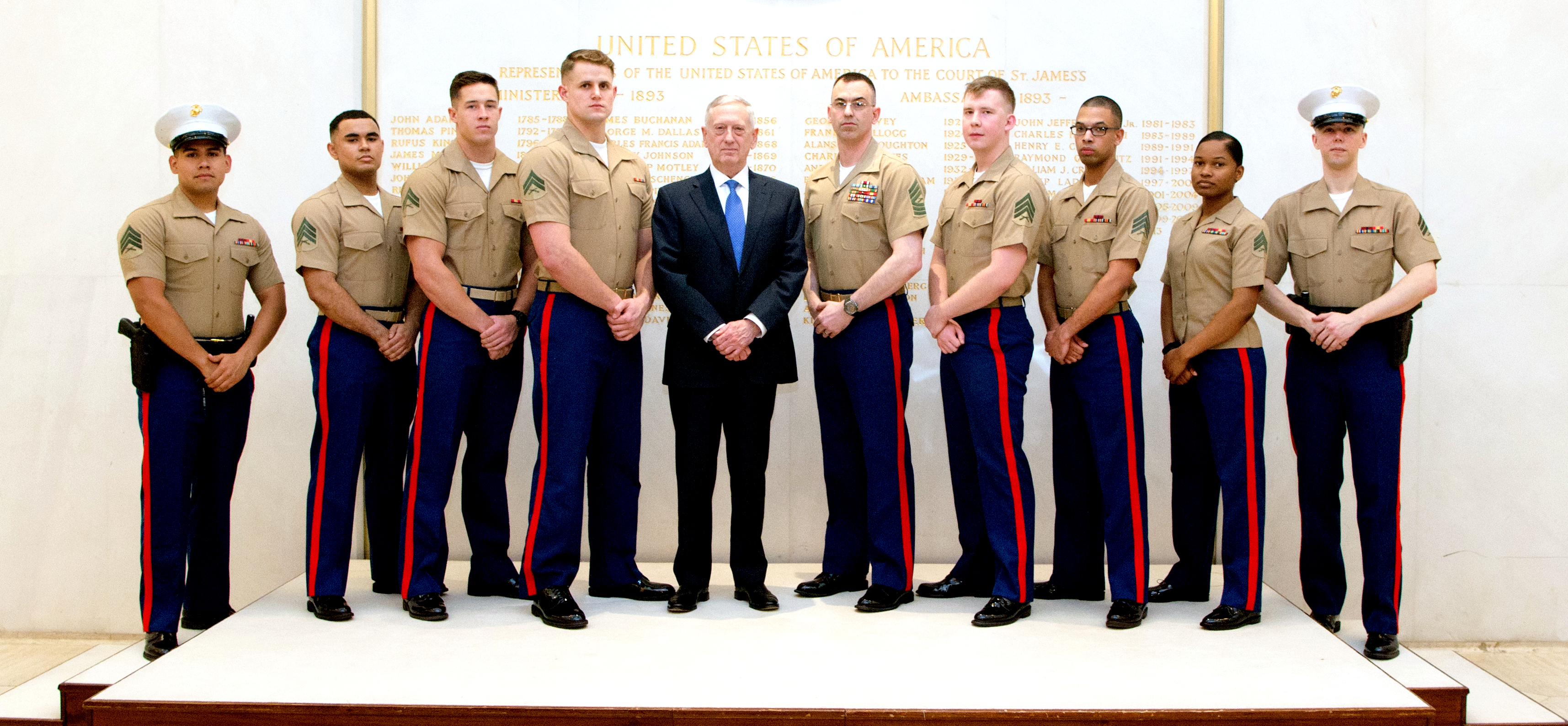 defense secretary jim mattis with msgs at the us embassy in london on march 31 2017 dod photo by us army sgt amber i smith